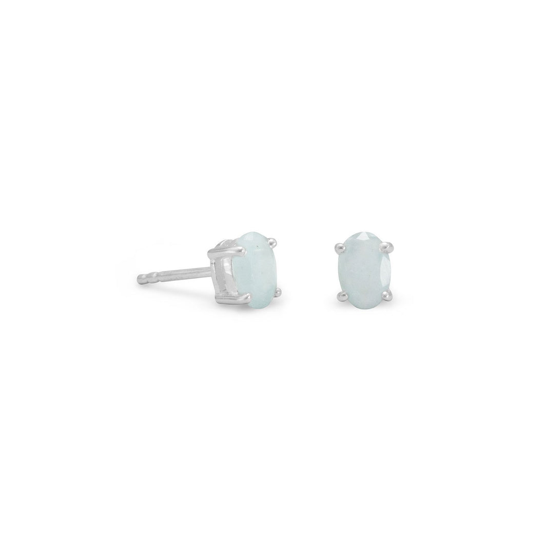 Faceted Oval Aquamarine Earrings - Lierre Bridal Accessories