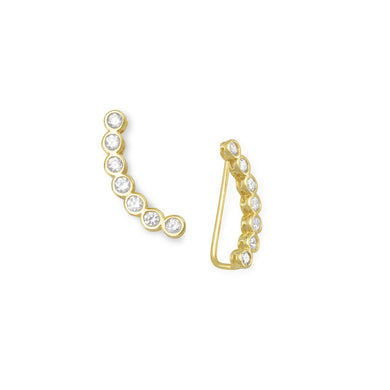Bezel CZ Ear Climbers - Lierre Bridal Accessories