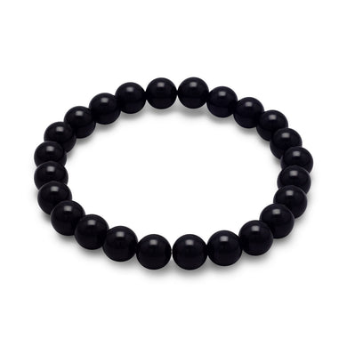 Black Onyx Bead Stretch Bracelet - Lierre Bridal Accessories