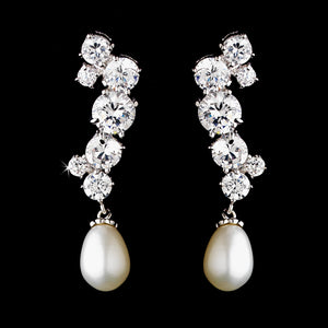 CZ and Freshwater Pearl Dangle Earrings - Lierre Bridal Accessories