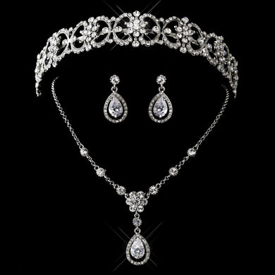 CZ and Rhinestone Tiara Headpiece and Jewelry Set - Lierre Bridal Accessories