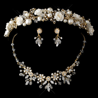 Blonde Pearl, Swarovski Crystal Bead and Rhinestone Ceramic Flower Tiara Headpiece and Jewelry Set - Lierre Bridal Accessories