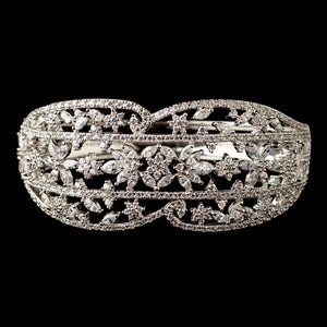Rhodium Clear Multi CZ Crystal Bangle Bracelet - Lierre Bridal Accessories