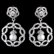 Diamond White Pearl and CZ Drop Earrings - Lierre Bridal Accessories