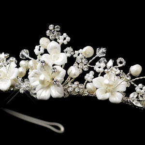Silver Freshwater Pearl, Swarovski Crystal Bead and Rhinestone Tiara Headpiece - Lierre Bridal Accessories
