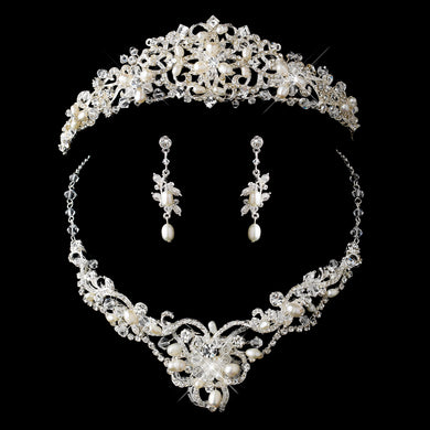 Silver Freshwater Pearl, Swarovski Crystal and Rhinestone Tiara Headpiece - Lierre Bridal Accessories