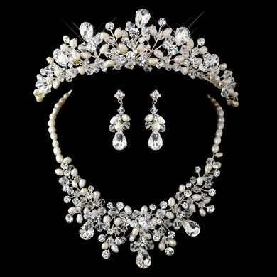Silver Freshwater Pearl, Swarovski Crystal Bead and Rhinestone Tiara Headpiece and Jewelry Set - Lierre Bridal Accessories