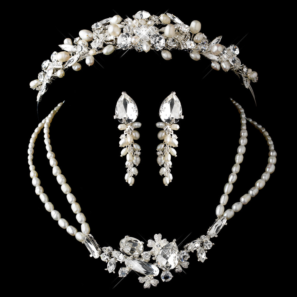 Freshwater Pearl, Swarovski Crystal Bead and Rhinestone Tiara Headpiece - Lierre Bridal Accessories