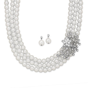 "18""+ 2"" Glass Pearl and Crystal Fashion Necklace and Earring Set - Lierre Bridal Accessories"