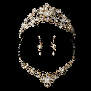 Gold Freshwater Pearl, Swarovski Crystal Bead and Rhinestone Tiara Headpiece - Lierre Bridal Accessories