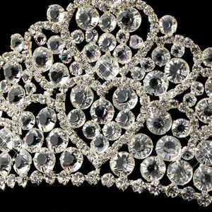 Crystal and Rhinestone Heart Tiara Headpiece - Lierre Bridal Accessories