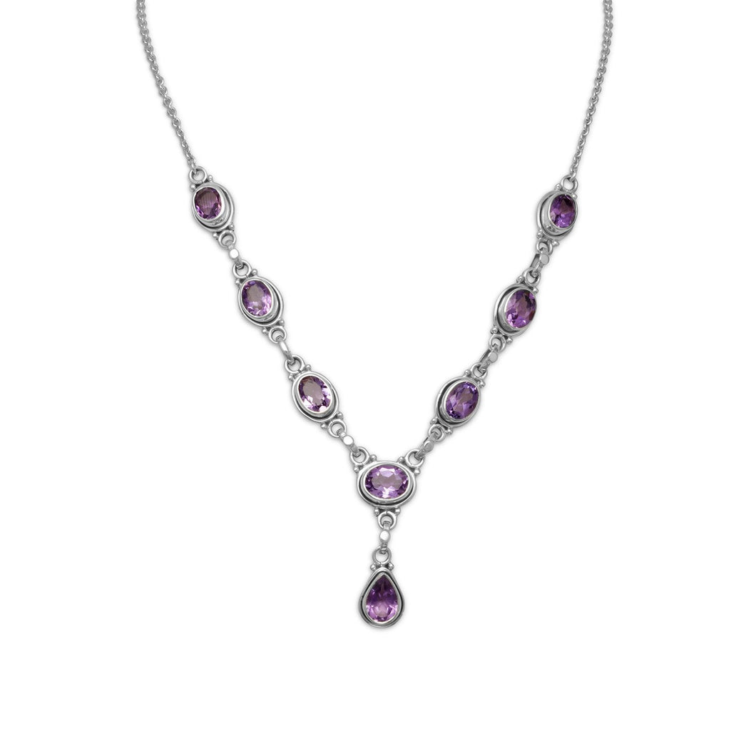 Oval and Pear Shape Amethyst Necklace - Lierre Bridal Accessories