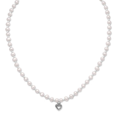 Freshwater Pearl and Silver Bead Necklace with Oxidized Heart - Lierre Bridal Accessories