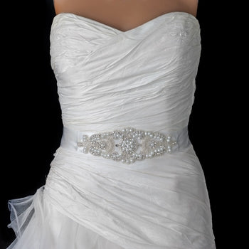 Pearl Rhinestone Beaded Bridal Belt - Lierre Bridal Accessories