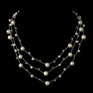Pearl and Austrian Crystal Three Row Necklace - Lierre Bridal Accessories