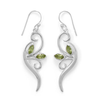 Peridot Leaf and Branch Earrings - Lierre Bridal Accessories
