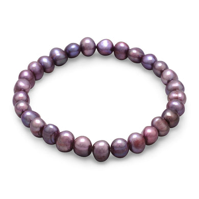 Plum Freshwater Pearl Stretch Bracelet - Lierre Bridal Accessories