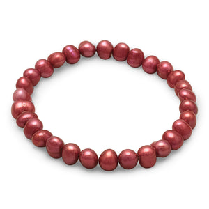 Red Freshwater Pearl Stretch Bracelet - Lierre Bridal Accessories