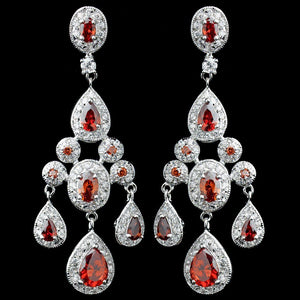 Red Teardrop CZ Chandelier Earrings - Lierre Bridal Accessories