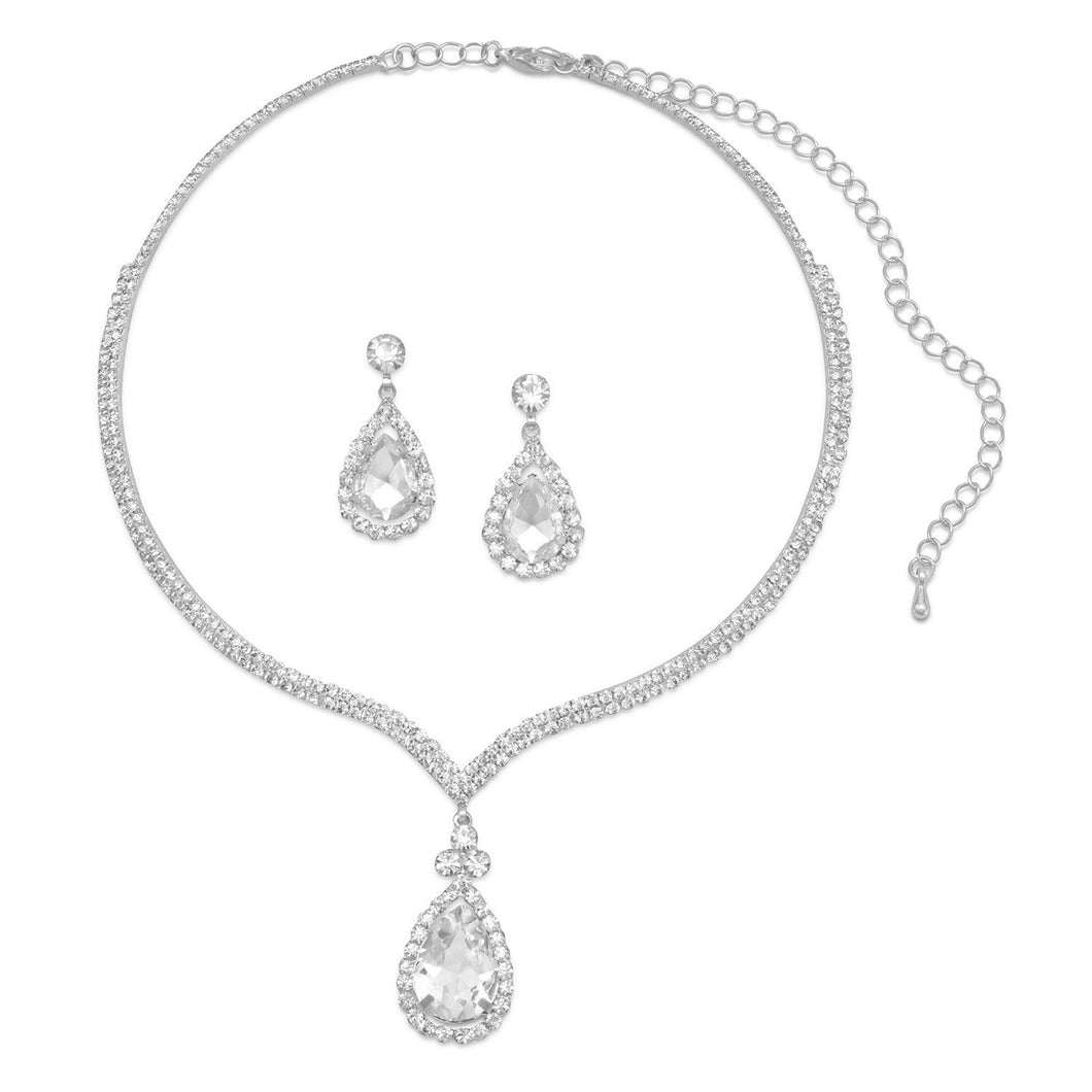 Silver Tone and Crystal Drop Fashion Necklace and Earring Set - Lierre Bridal Accessories