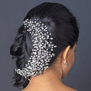 Rhodium Clear Rhinestone Handmade Wired Tiara - Lierre Bridal Accessories
