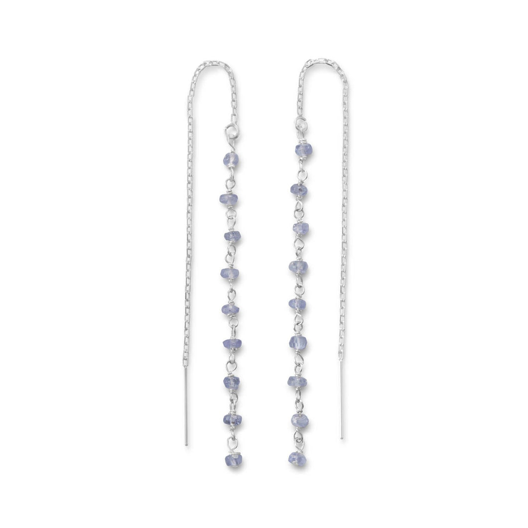 Tanzanite Bead Threader Earrings - Lierre Bridal Accessories