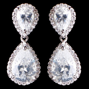 Teardrop CZ Earrings - Lierre Bridal Accessories