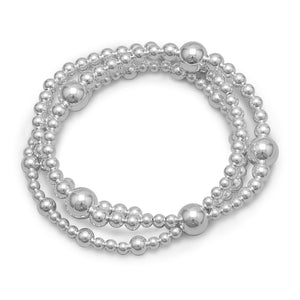 Triple Strand Silver Bead Bracelet - Lierre Bridal Accessories