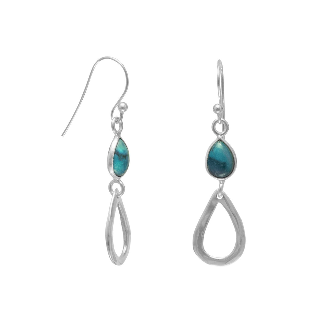 Turquoise Drop French Wire Earrings - Lierre Bridal Accessories
