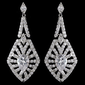 CZ Crystal Dangle Earrings - Lierre Bridal Accessories