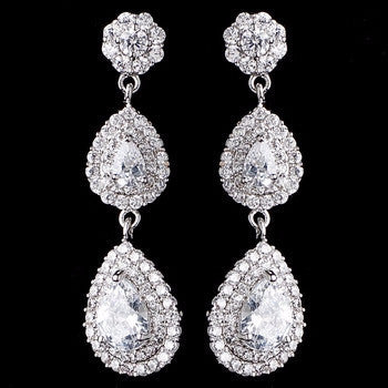 Double Teardrop CZ Dangle Earrings - Lierre Bridal Accessories