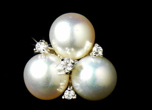Triple CZ and White Pearl Stud Earrings - Lierre Bridal Accessories