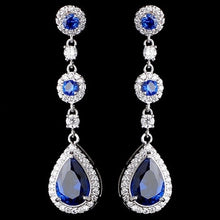 Sapphire Teardrop CZ Dangle Earrings - Lierre Bridal Accessories