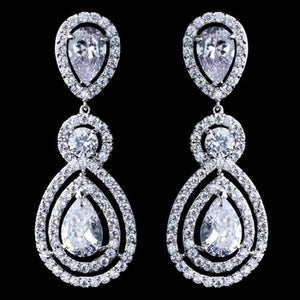 Aurora Borealis Teardrop and CZ Dangle Earrings - Lierre Bridal Accessories