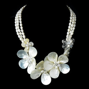 Silver Freshwater Pearl Shell and Swarovski Crystal Bead Necklace - Lierre Bridal Accessories