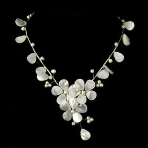 Ivory Stone and Pearl Floral Necklace - Lierre Bridal Accessories