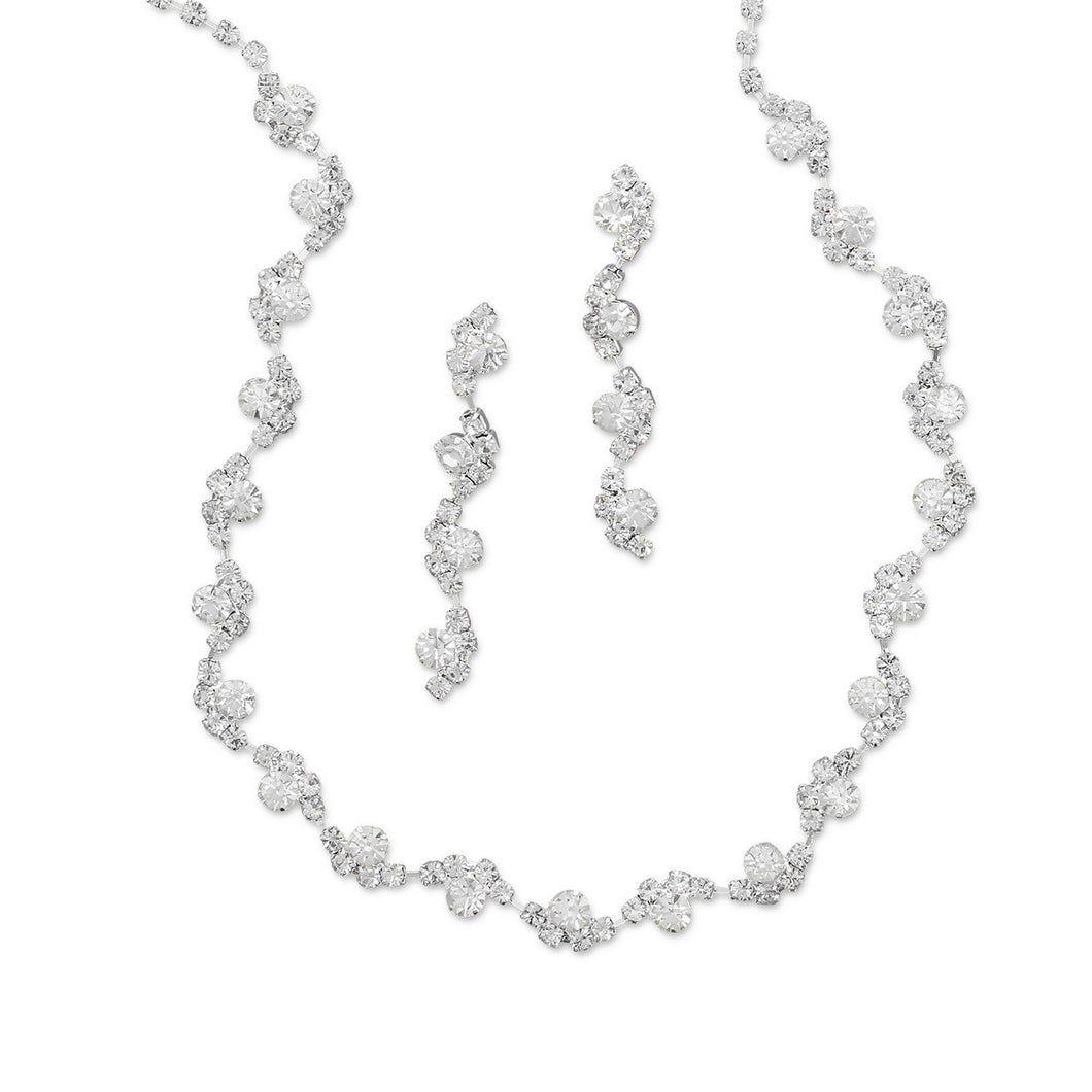 Wave Design Crystal Fashion Necklace and Earring Set - Lierre Bridal Accessories
