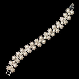 Rhinestone and White Pearl Floral Bracelet - Lierre Bridal Accessories
