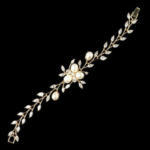 Gold CZ Crystal and Freshwater Pearl Bracelet - Lierre Bridal Accessories