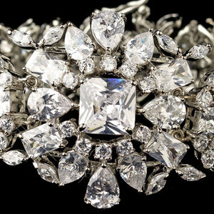 Rhodium CZ Crystal Bracelet - Lierre Bridal Accessories