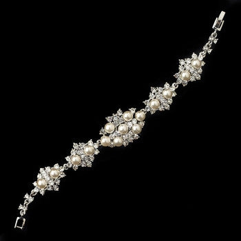 Rhodium Diamond White Pearl and Clear Rhinestone Bracelet - Lierre Bridal Accessories