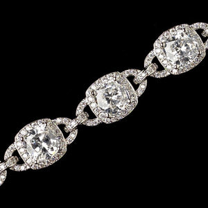 Rhodium Clear CZ Crystal Cushion Cut Bracelet - Lierre Bridal Accessories