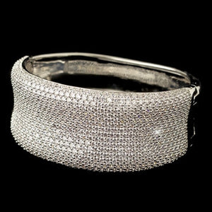 Rhodium Clear Micro Pave CZ Crystal Bangle Bracelet - Lierre Bridal Accessories