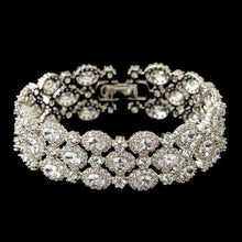Rhodium Clear Triple Row Oval CZ Crystal Bracelet - Lierre Bridal Accessories