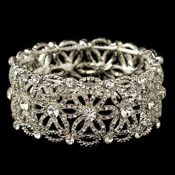 Rhinestone Stretch Flower Bracelet - Lierre Bridal Accessories