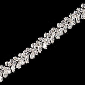 Rhodium Clear Marquise Chevron CZ Crystal Bracelet - Lierre Bridal Accessories