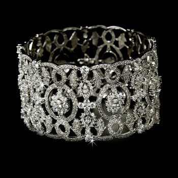 CZ Bridal Cuff Bangle Bracelet Silver - Lierre Bridal Accessories