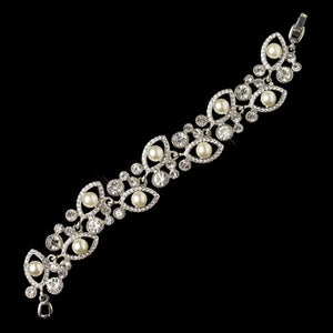 Rhodium Clear Rhinestone and Ivory Pearl Bracelet - Lierre Bridal Accessories