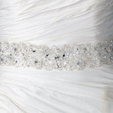 Sheer Organza Embroidered Ivory Ribbon Beaded Belt or Headband - Lierre Bridal Accessories