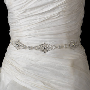 Clear Rhinestone Belt with Ribbon - Lierre Bridal Accessories